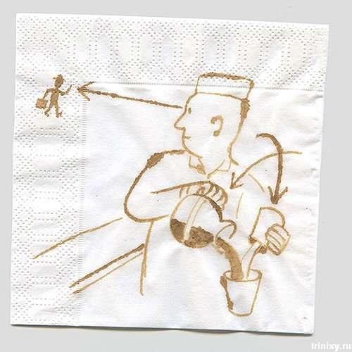 Малюнки кавою на серветках (13 фото)